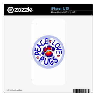 """""""Peace Love Pugs"""" Decals For iPhone 4S"""
