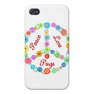 Peace Love Pugs iPhone 4/4S Cases