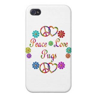 PEACE LOVE PUGS iPhone 4/4S COVERS