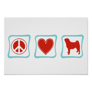 Peace Love Pugs Squares Poster