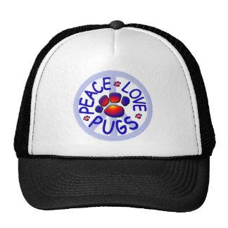 """""""Peace Love Pugs"""" Trucker Hat"""