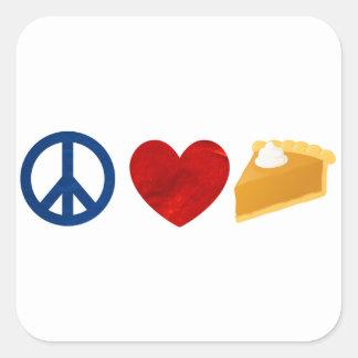 Peace, Love, Pumpkin Pie Square Sticker