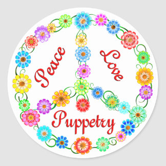 Peace Love Puppetry Classic Round Sticker