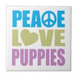Peace Love Puppies Tile