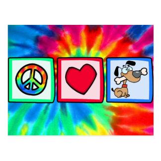 Peace, Love, Puppy Dogs Postcard