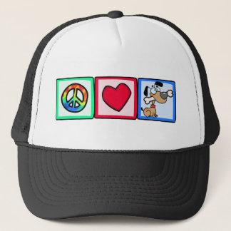 Peace, Love, Puppy Dogs Trucker Hat