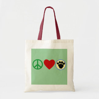 Peace Love Puppy Paws T shirts, Gifts Canvas Bags