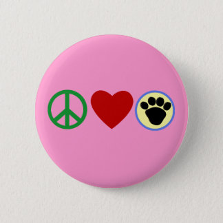 Peace Love Puppy Paws T shirts, Gifts Button