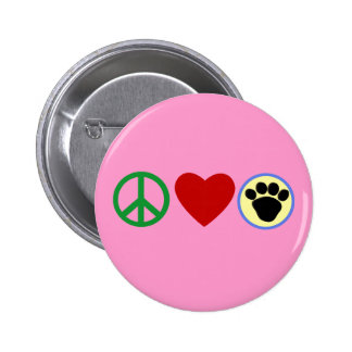 Peace Love Puppy Paws T shirts, Gifts 2 Inch Round Button