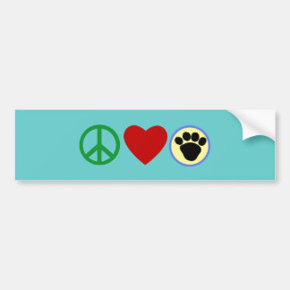 Peace Love Puppy Paws T shirts, Gifts Car Bumper Sticker