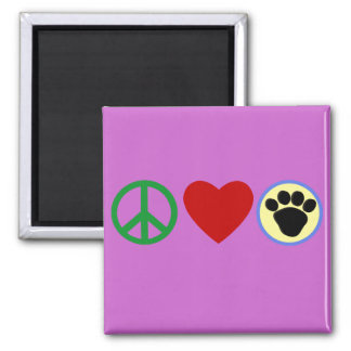 Peace Love Puppy Paws T shirts, Gifts Fridge Magnet