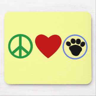 Peace Love Puppy Paws T shirts Gifts Mousepad