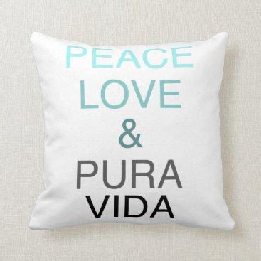 Beach Themed Peace Love Pura Vida Teal & Black Throw Pillow