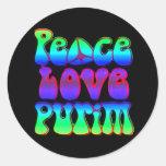 Peace Love Purim Classic Round Sticker