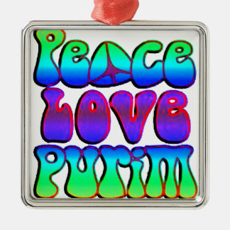 Peace Love Purim Metal Ornament