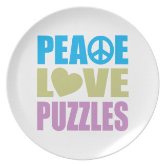 Peace Love Puzzles Dinner Plate