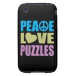Peace Love Puzzles Tough iPhone 3 Case