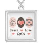 Peace Love Quilt Necklace