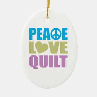 Peace Love Quilt Christmas Ornaments