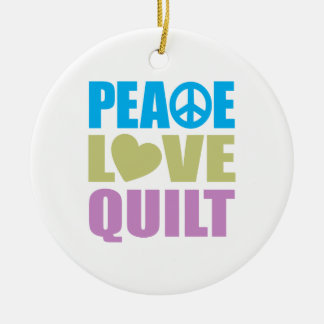 Peace Love Quilt Christmas Tree Ornament