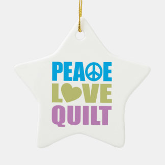 Peace Love Quilt Christmas Tree Ornaments