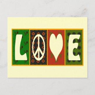 Peace Love Quilt Postcard postcard