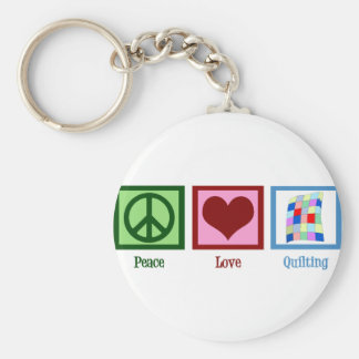Peace Love Quilting Basic Round Button Keychain