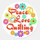 PEACE LOVE Quilting Classic Round Sticker