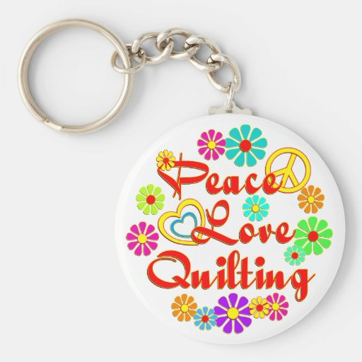 PEACE LOVE Quilting Key Chain