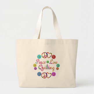 PEACE LOVE QUILTING LARGE TOTE BAG