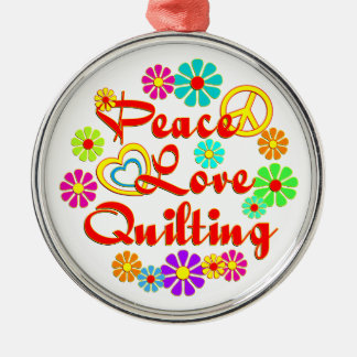 PEACE LOVE Quilting Christmas Tree Ornaments