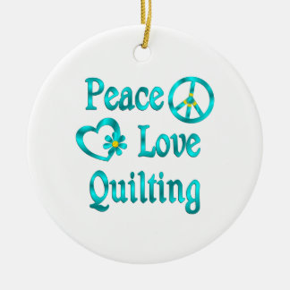Peace Love Quilting Ornament