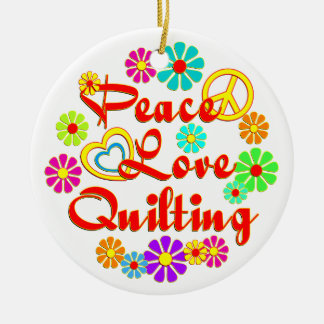 PEACE LOVE Quilting Christmas Ornament