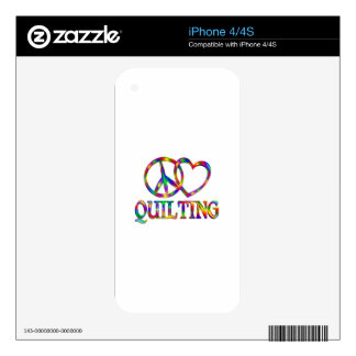 Peace Love Quilting iPhone 4S Decal
