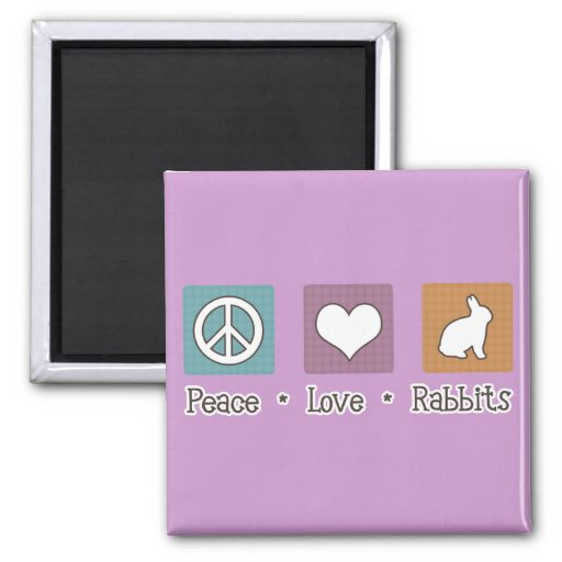Peace Love Rabbits 2 Inch Square Magnet