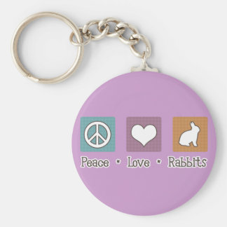 Peace Love Rabbits Basic Round Button Keychain