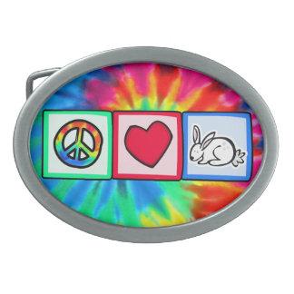 Peace, Love, Rabbits Oval Belt Buckles