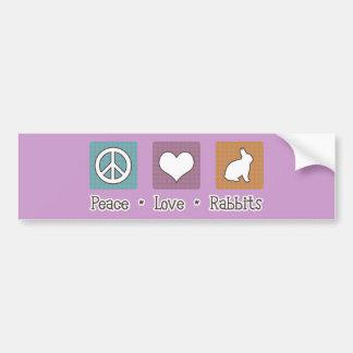 Peace Love Rabbits Car Bumper Sticker
