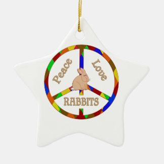 Peace Love Rabbits Ceramic Ornament