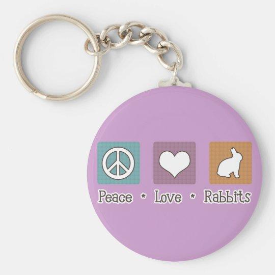 Peace Love Rabbits Keychain
