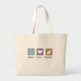 Peace Love Rabbits Large Tote Bag