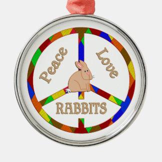 Peace Love Rabbits Metal Ornament