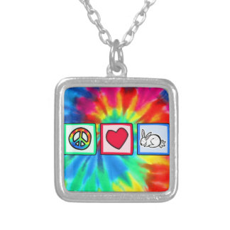 Peace, Love, Rabbits Personalized Necklace