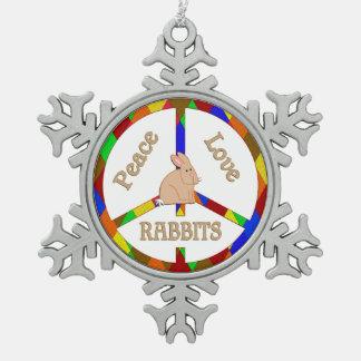 Peace Love Rabbits Snowflake Pewter Christmas Ornament