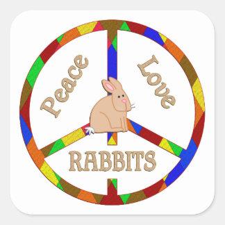 Peace Love Rabbits Square Sticker