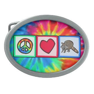 Peace, Love, Raccoons Belt Buckle