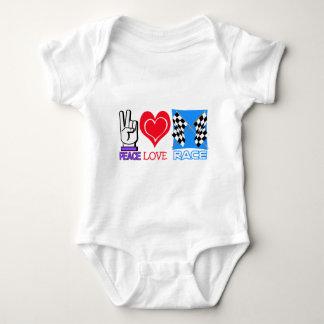 PEACE LOVE RACE BABY BODYSUIT