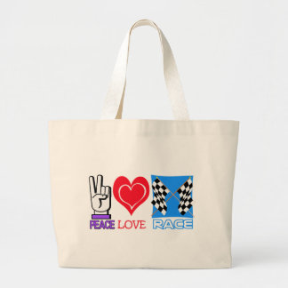 PEACE LOVE RACE LARGE TOTE BAG