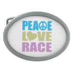 Peace Love Race Oval Belt Buckle