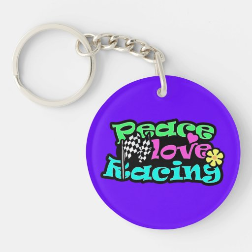 Peace, Love, Racing Double-Sided Round Acrylic Keychain